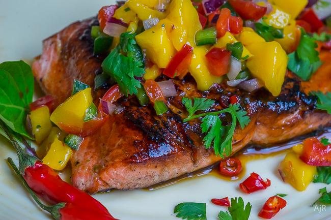Thai Salmon with Mango Pepper Salsa