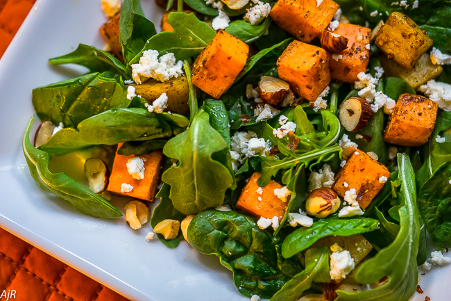 Roasted Sweet Potato and Spinach Salad